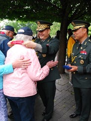 Korean War veteran Helen Nelon, of Asheville, receives