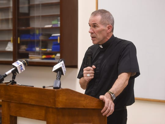 Archbishop Michael Jude Byrnes addresses the Vatican's decision to convict former Guam Archishop Anthony S. Apuron during a press conference at the St. John Paul the Great Center in Hagåtña on Marhc 19, 2018.
