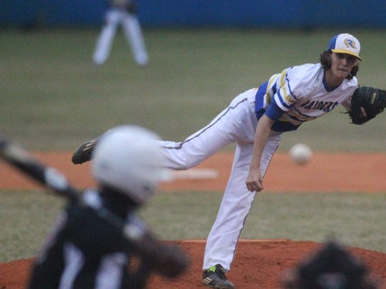 Rickards' Michael-Todd Reed pitches against Franklin County.