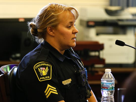 Cincinnati police Sgt. Shannon Heine testifies on the second day of Raymond Tensing's retrial in Hamilton County Common Pleas Judge Leslie Ghiz's courtroom Friday, June 9, 2017, in Cincinnati.