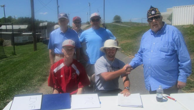 Asheville Post 70 coach Cort Radford, center, and Legion representatives were in attendance for Sunday's tryout at Erwin.