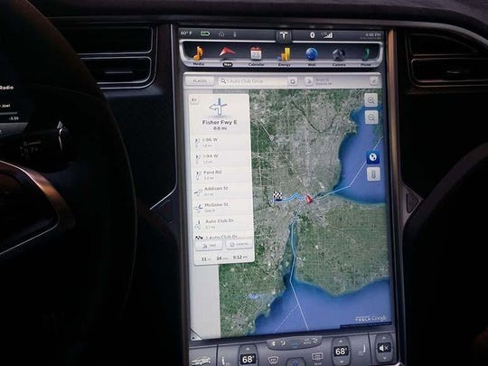 The Model S' 17-inch touchscreen controls most of the car's functions.