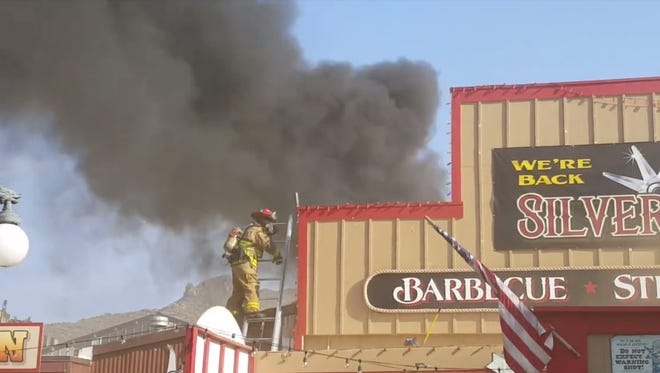 An air-conditioning unit caught fire at the Silver Spur Saloon in Cave Creek Tuesday evening.
