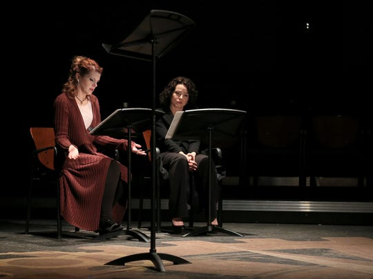 """Kristina Harding and Melanie Nelson participate in a reading of """"The Process"""" by Sue Lange during the Second Act New Works Festival on Feb. 16 at Dixie State University's Eccles Black Box Theater."""
