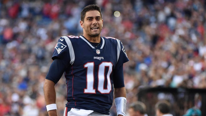 New England Patriots quarterback Jimmy Garoppolo (10) prior to a game against the Jacksonville Jaguars at Gillette Stadium.