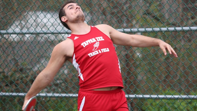 Tappan Zee High School's Anastasios Mouzakis throws the discus during the Hen Hud Field Fest at Hendrick Hudson High School in Montrose, April 22, 2017.