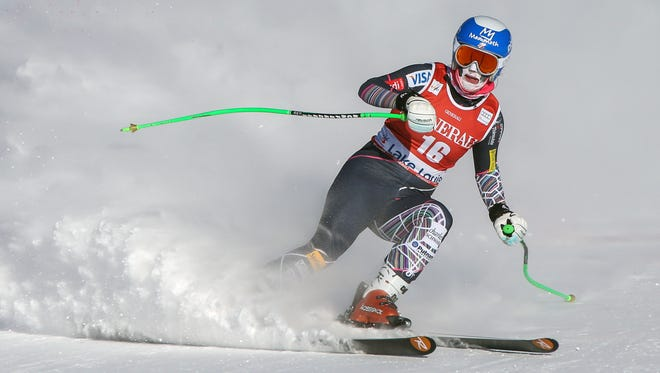 Stacey Cook finishes a run during the women's downhill in a World Cup event in 2013.