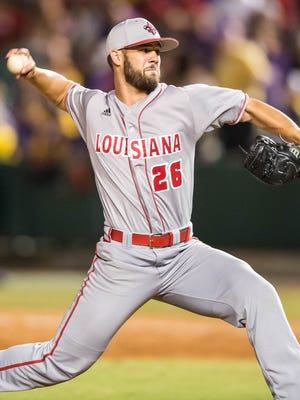 Cajuns pitcher Jevin Huval (26) in for relief in the annual Wally Pontiff classic at Zephyr Field on Tuesday night on April 11, 2017.