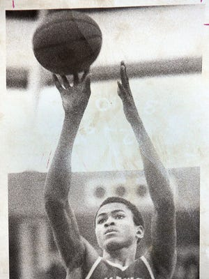 Lakewood's Kelvin Troy takes the game-winning free throw in the Piners' win over East Orange in the 1975 NJSIAA Group III championship game.
