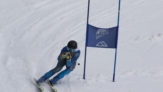 Red Bluff High's Connor Sousa wins the the boys giant slalom ski race Monday at the Mt. Shasta Ski Park.