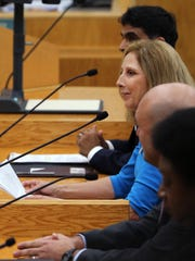 Debbie Linsey-Opel gives her opening statement during public interviews for the at-large city council seat on Tuesday, June 20, 2017.She was one of four finalists for the seat and was selected by the council to fill the position.