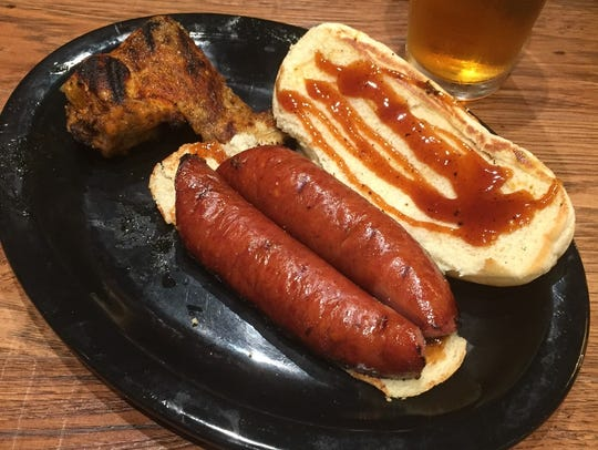 The smoked sausage sandwich at One & Only BBQ