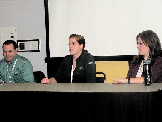 Three millennials (left to right) : Aaron Cole, The DeLong Co.: Anne Moore, CHS, Larsen Cooperative and Kristen Faucon, Growmark gave their views on a sometimes debated issue.