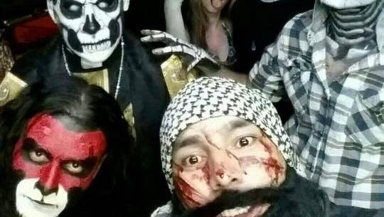 A gory bunch celebrates All Hallow's Eve. Pictured, from left, back row; Jervais Peso, Savannah James and Logan Fleharty. Front row; Orlando Enos, Jason Shelby and James Flores.
