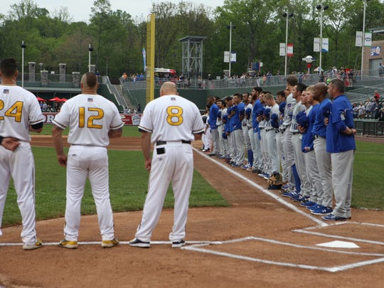 The Rockland Boulders hosted an exhibition game against the NYPD baseball team, May 16, 2015.