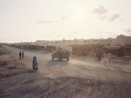 A U.S. Army Humvee patrols the streets of Mogadishu,