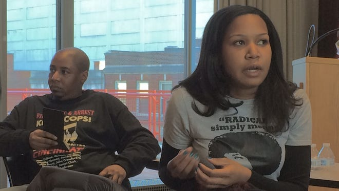 Ashley Harrington (right) and Brian Taylor are two of three Black Lives Matter Cincinnati's three steering committee members and presented Monday afternoon at a Martin Luther King Jr. educational forum.