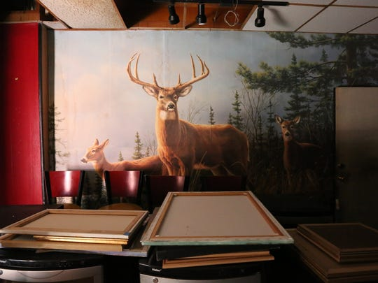 Deer mural in room yet to be renovated at the Rockland