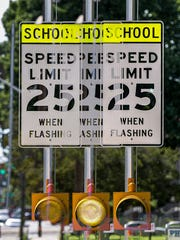 A new school zone sign near 34th Street and Central