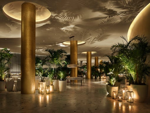 The lobby of the new EDITION hotel in Miami.
