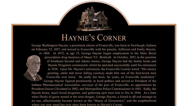 A rendering of a historical plaque that will be placed at Haynie's Corner detailing the history of the city's famous corner near Downtown.