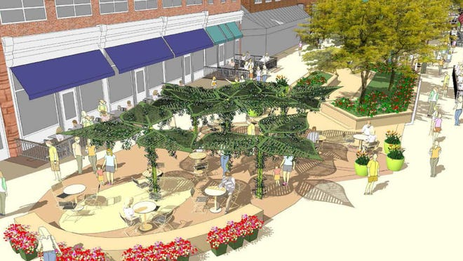 An artist's rendering of the new seating area at Mountain Avenue with a shade sculpture.