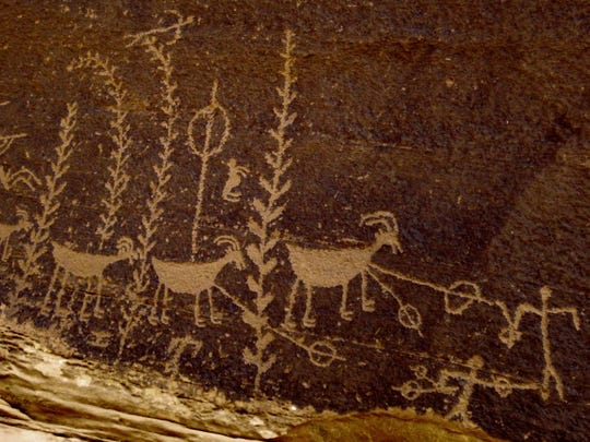 Rock art found in Utah shows an atlatl being used to hunt a bighorn sheep.
