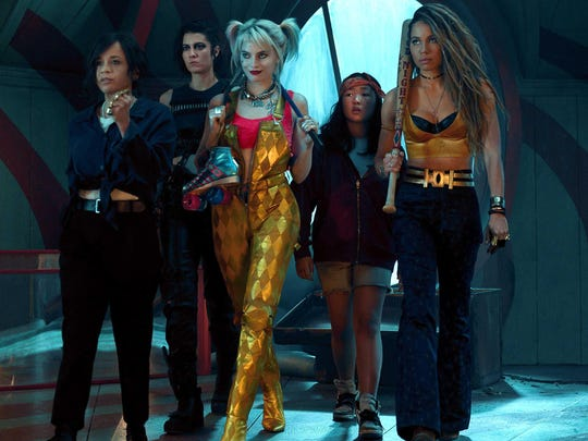 "Rosie Perez, from left, Mary Elizabeth Winstead, Margot Robbie, Ella Jay Basco and Jurnee Smollett-Bell are the girl gang of ""Birds of Prey."""