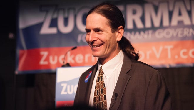 Sen. David Zuckerman, P/D-Chittenden, speaks with audience members at the Vermont Comedy Club in Burlington on Thursday night before announcing his candidacy for lieutenant governor.
