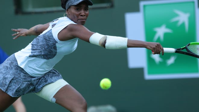 American Venus Williams returns the ball to Jelena Jankovic of Serbia during the BNP Paribas Open on Saturday, March 11, 2017 in Indian Wells, CA.