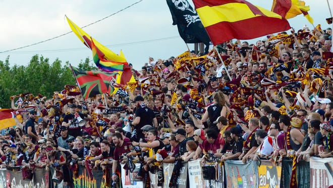 The Northern Guard, fans of the Detroit City FC, cheer during the NPSL soccer match on Saturday, July 22, 2017, at Keyworth Stadium in Hamtramck.