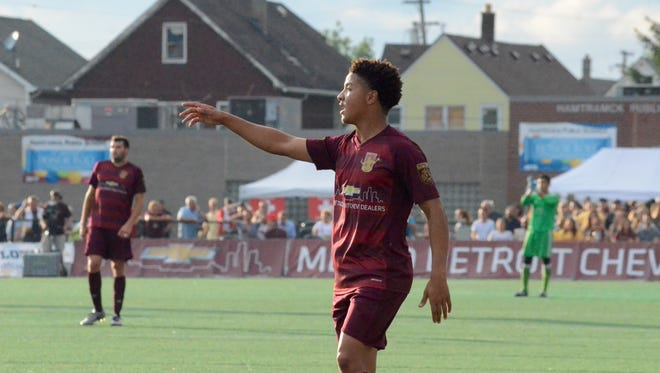 Detroit City FC forward Tyrone Mondi orchestrates his team's offense in the National Premier Soccer League Midwest Region opener against Dakota Fusion FC on Saturday, July 22, 2017, at Keyworth Stadium in Hamtramck.