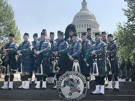 Members of the Delaware State Police Pipes & Drums