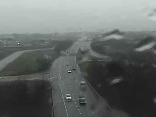 In this image from a Delaware Department of Transportation camera, traffic drives on Del. 141 Wednesday morning.