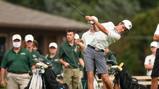 Zach Sieverts of Jackson hits his first tee shot in a match with GlenOak at Shady Hollow Country Club on Wednesday.(CantonRep.com / Ray Stewart}