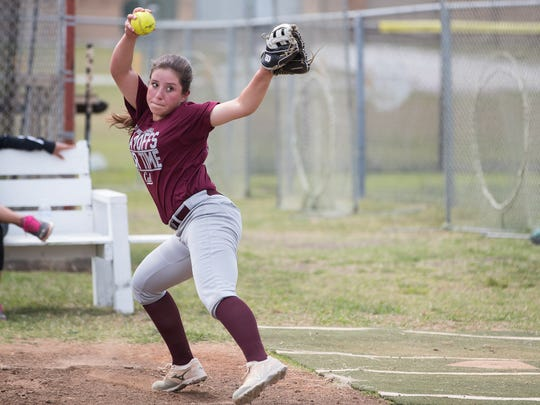 Calallen's Lizette Del Angel throws in the bullpen during practice on Wednesday, April 25, 2018.