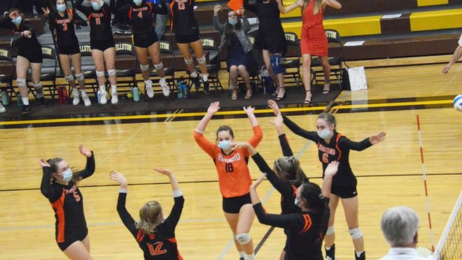 The Rudyard volleyball team celebrates a point during a regional final match against Inland Lakes at Pellston High School last week. The MHSAA has announced its plan to resume the volleyball tournament on Dec. 15, if allowed by the Michigan Department of Health and Human Services.