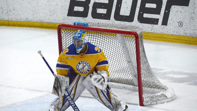 Lake Superior State's Mareks Mitens is the WCHA Goaltender of the Week. He made 41 saves on 42 shots over two games against Michigan Tech last weekend.