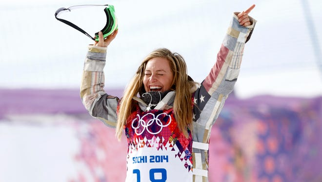 Jamie Anderson reacts after winning gold.