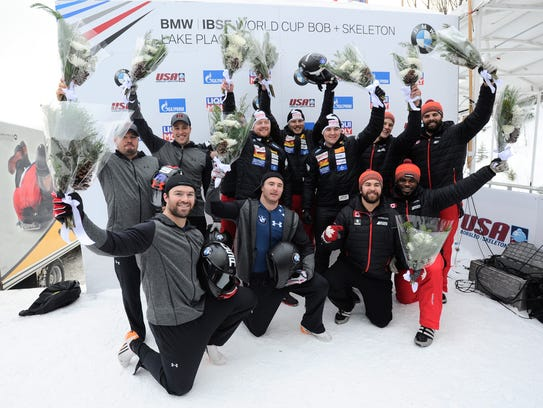 The Swiss and U.S. bobsled teams in 2016 in New York.