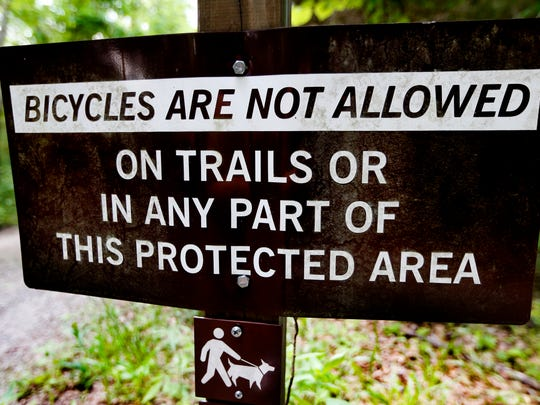 Bikes are not allowed on the trails at Barfield Crescent