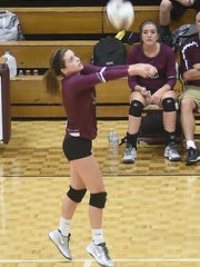Eagleville's Abby Creech saves a ball in the third game of Tuesday's Region 5-A semifinal loss.