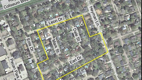 The yellow marks outline the Earl Drive area of Alexandria where a water boil advisory is in effect.