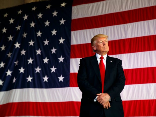 President Donald Trump is introduced to speak to U.S. military troops at Naval Air Station Sigonella, Saturday, May 27, 2017, in Sigonella, Italy. (AP Photo/Evan Vucci)