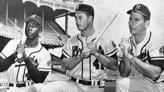 Left from right: Hank Aaron, Eddie Mathews and Joe Adcock. (AP Photo)
