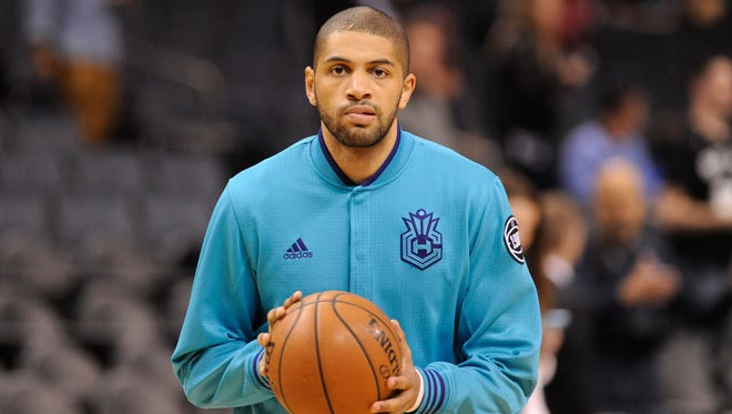 Mar 21, 2016; Charlotte, NC, USA; Charlotte Hornets guard forward Nicolas Batum (5) warms up before the game against the San Antonio Spurs at Time Warner Cable Arena. Mandatory Credit: Sam Sharpe-USA TODAY Sports