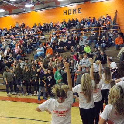 The Lucas Cubs' student section showed up in their