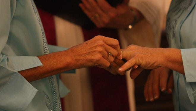 Scenes from same-sex marriage ceremonies Sunday at All Faiths Unitarian Congregation in Fort Myers.
