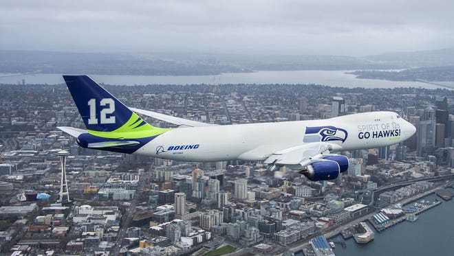 It didn't fly fans to the Super Bowl, but Boeing capitalized on the moment in 2014 by rolling out this Seahawks-themed 747.