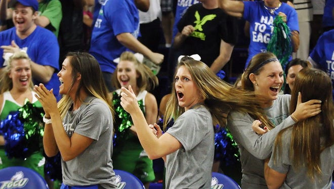 FGCU's Jenna Cobb reacts in disbelief after learning they will play Oklahoma State in the NCAA tournament during a watch party Monday at Alico Arena. FGCU lost to OSU in the first round last year.